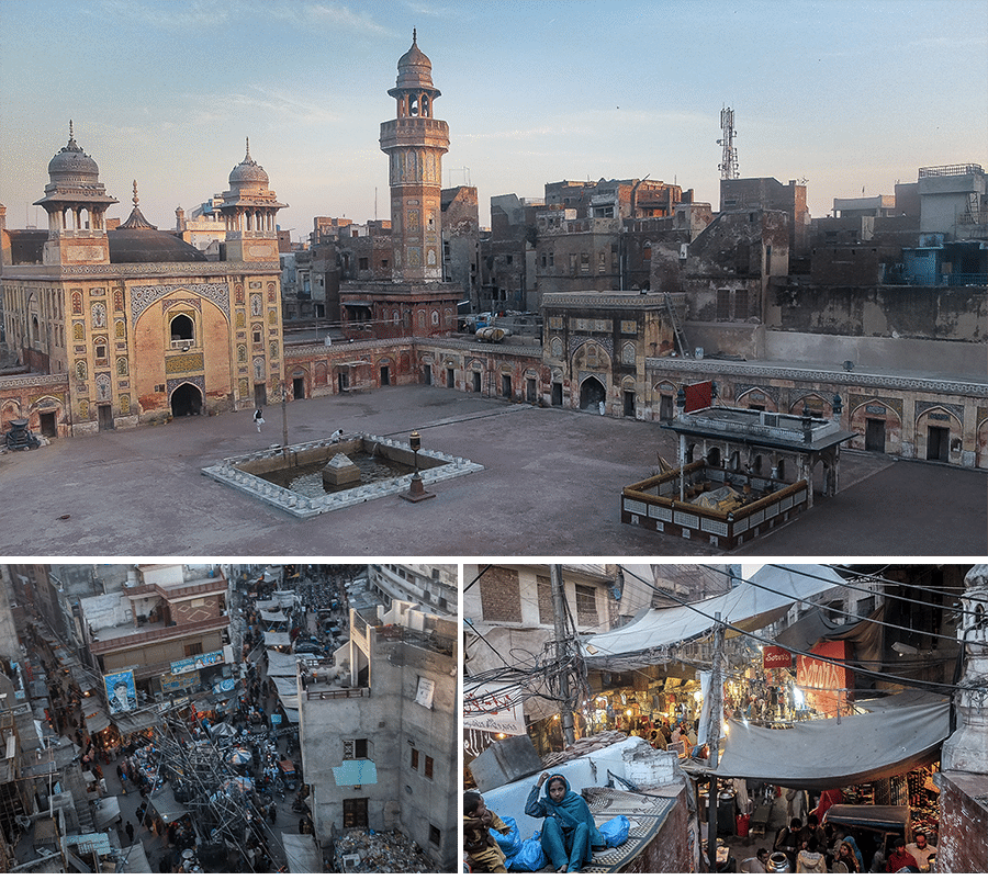 Lahore . Mosquée de Wazir- Khan et vue sur la vieille ville