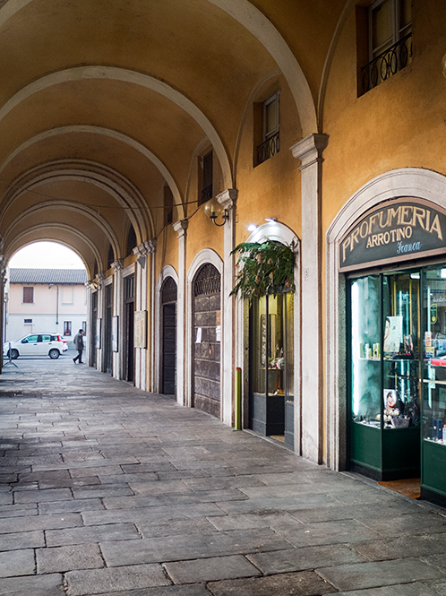 Garlasco, les arcades du centre ville