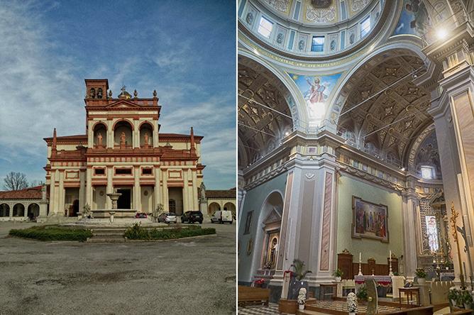 Extérieur et intérieur du Sanctuaire de Bozzola à Garlasco