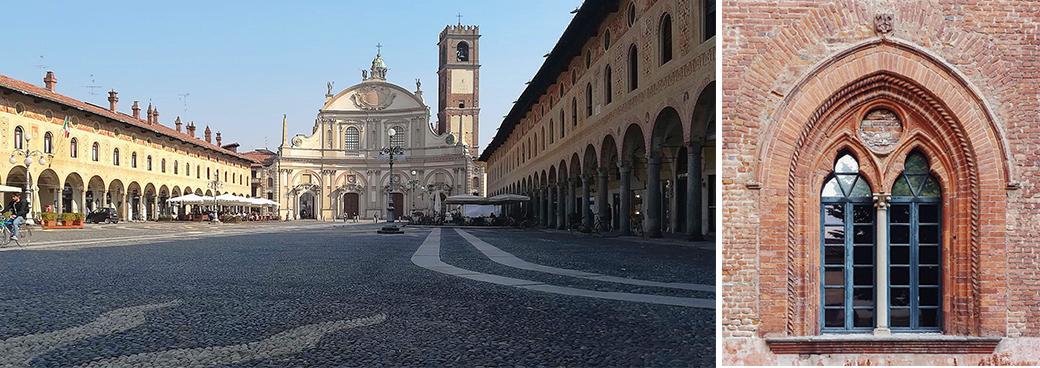 Vigevano place Duclae et fenêtre du château Sforza